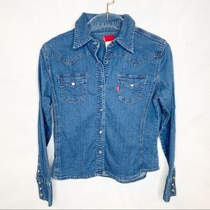 Levi's Western Pearl Snap Denim Shirt Small